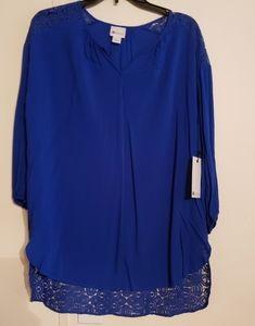 NWT Exotic Blue Stylus Blouse Sz Large
